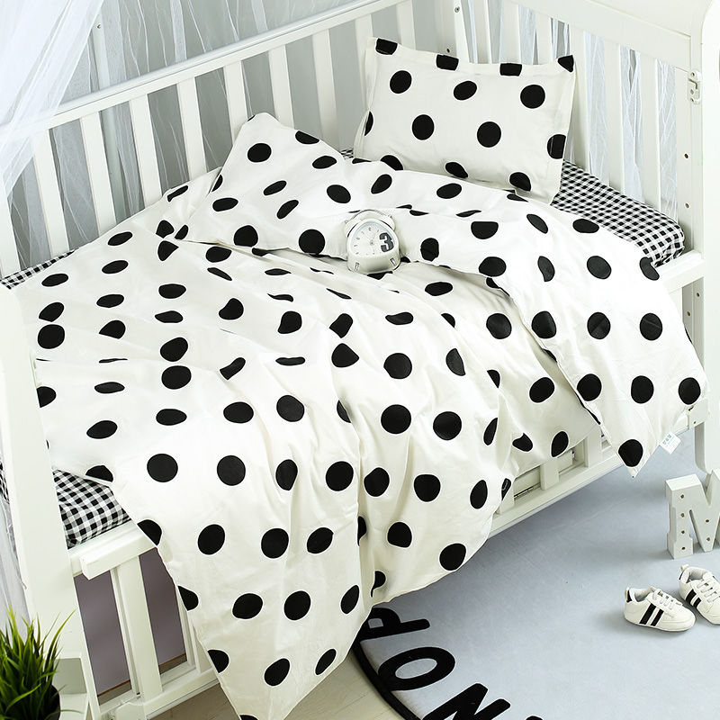 3pcs Multi Colors Cotton Baby Bedding Set Pillowcase Bed Sheet Quilt Cover Baby Organizer Soft Infant