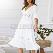 CUERLY New White Lace Up Long Sexy Dress Women Summer V-neck Hollow Out Party Bohemian Casual Feminino Dresses Vestidos