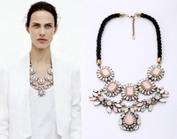 Free Shipping Pink Necklace Women Fashion Exaggerated Resin Ribbon Bib Statement Necklace Big Gem Choker Necklaces