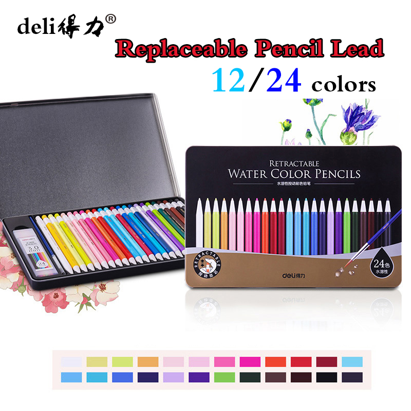 deli water solubility 12/24 color pencil for kids Replaceable lead core For School Drawing Sketch pencil case Art Supplies cute lovely color pencil drawing tutorial art book