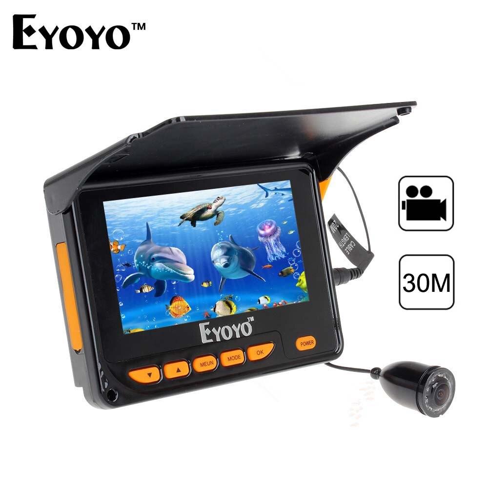 Eyoyo 4.3 buscador de peces portátil 30 m submarina HD Pesca cámara de vídeo DVR foto 150 grados 8 unids ir LED Fishfinder