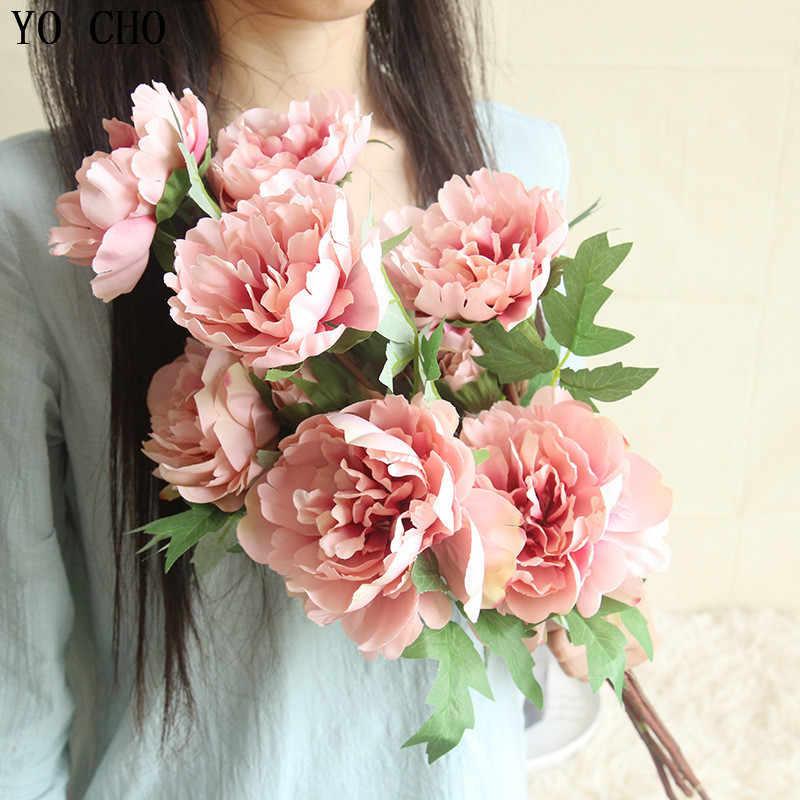 YO CHO Singolo Artificiale Fiori di Peonia Per La Decorazione di Nozze di Seta Peonie Bouquet Decorazione Della Casa Falso Rose Fiori Rami di Cinese