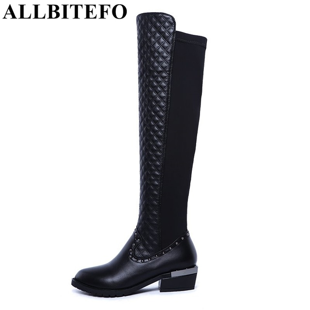 ALLBITEFO Rivets Design Genuine Leather + PU Over The Knee Boots EURO Size 33-43