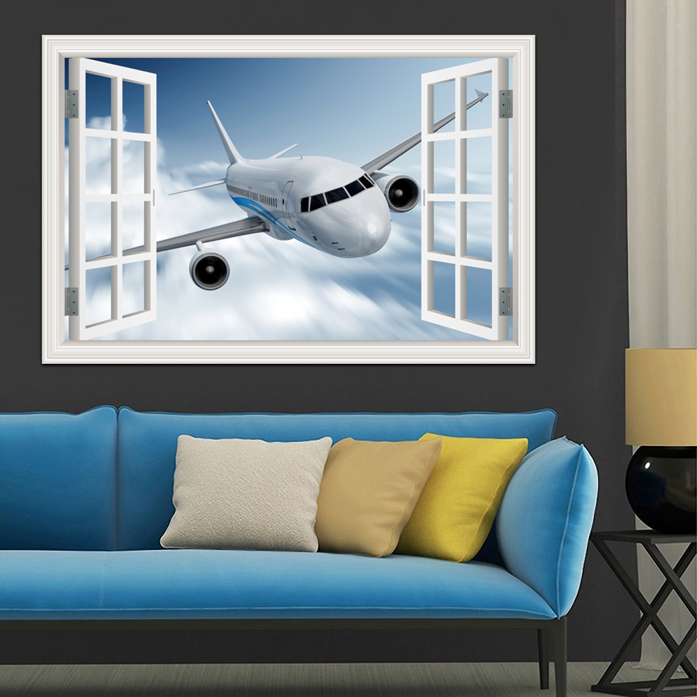Landschaft Tapete Flugzeug 3D Wandaufkleber Aufkleber Vinyl Wandkunst Wand Großen Fenster-ansicht Blauen Himmel Wohnkultur Wohnzimmer