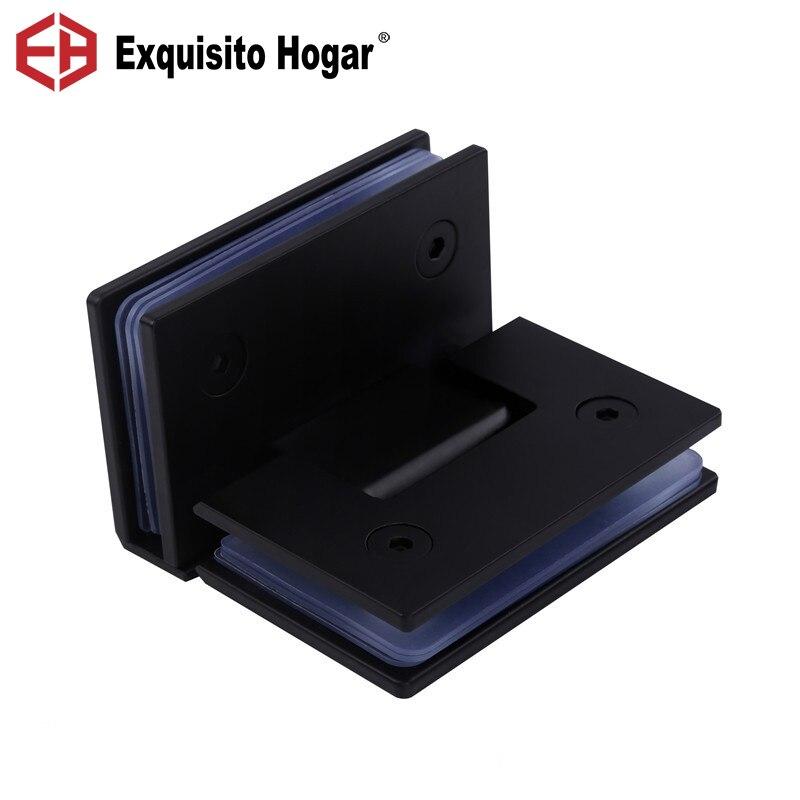 Charnière de porte de salle de bains noire Double Page bilatérale pliante sans cadre porte en verre Clip charnière de salle de douche ((90 degrés ouverts))