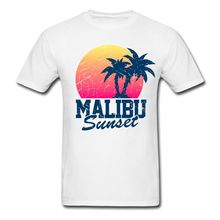 Vintage Malibu Sunset worn Men's T-Shirt T-Shirts 2017 Brand Clothes Slim Fit Printing Men Summer Short Sleeves T Shirt