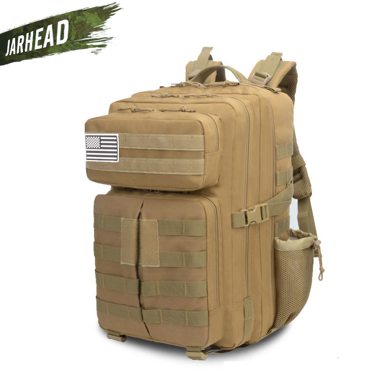 45L Outdoor Sports Camping Backpack Military 3P Assault MOLLE Large Rucksack Hunting Army Travel Climbing Travel