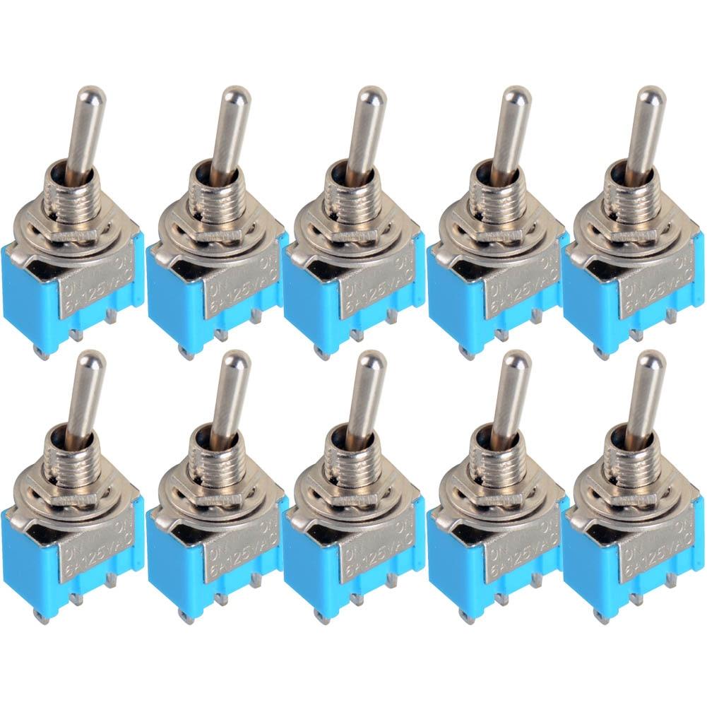 где купить 10pc/LOT  Blue Mini MTS-102 3-Pin SPDT ON-ON 6A 125VAC Miniature Toggle Switches VE067 P по лучшей цене