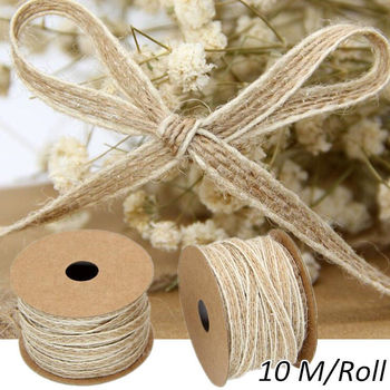 10M/Roll Jute Burlap Rolls Hessian Ribbon With Lace Vintage Rustic Wedding Decoration Party DIY Crafts Christmas Gift Packaging 10m lot 15mm 38mm jute burlap ribbons diy handmade crafts hessian twine rope cords rustic wedding birthday party decoration