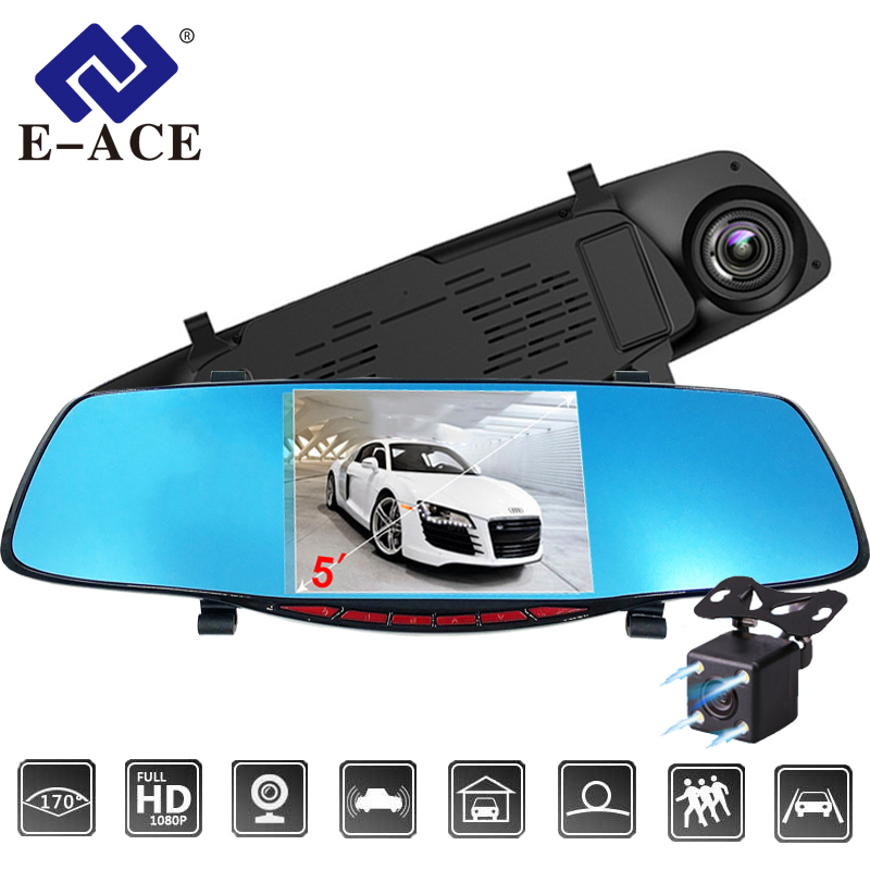 E-ACE Car DVR 5.0 Car camera Full HD 1080P Night Vision Auto Video Recorder Rear view Mirror Dual Lens Parking Monitor Dash Cam цена