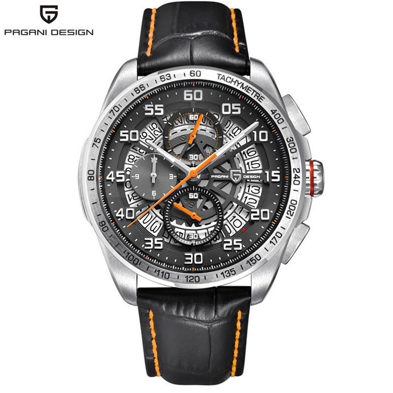 PAGANI DESIGN Skeleton Watch With Leather Strap & Chronograph 1