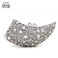 XIYUAN BRAND women evening bags glass diamond crystal wedding bridal purse rhinestone elegant chain clutches silver/gold gifts