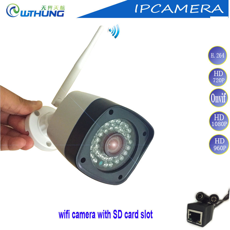 Wireless wired IP camera 2MP1.3MP 1MP support Onvif2.4 motion detector alarm SD card slot Max64G bullet For CCTV security camera ccdcam ec ip2541w m jpeg image compression wireless wired ip camerawireless wired ip camera