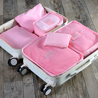 6pcs/set Fashion Double Zipper Waterproof Polyester Men and Women Luggage secret travel Bags packing cubes
