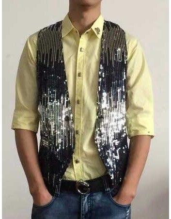 chaleco hombre 2017 mens waist coat vest men gilet homme stage sequin vest mens fashion clothing vests