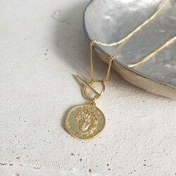 925 فضة MS صورة قلادة الذهب عملة مستديرة الشكل البرية قلادة فضية-سترة سلسلة للنساء مجوهرات charms