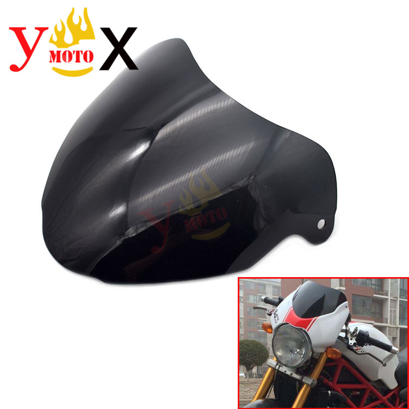Naked Bike Motorcycle Dark Smoke Windshield Windscreen Deflector Airflow For DUCATI MONSTER S4R MS4R 2003-up S4RS MS4RS 2005-up