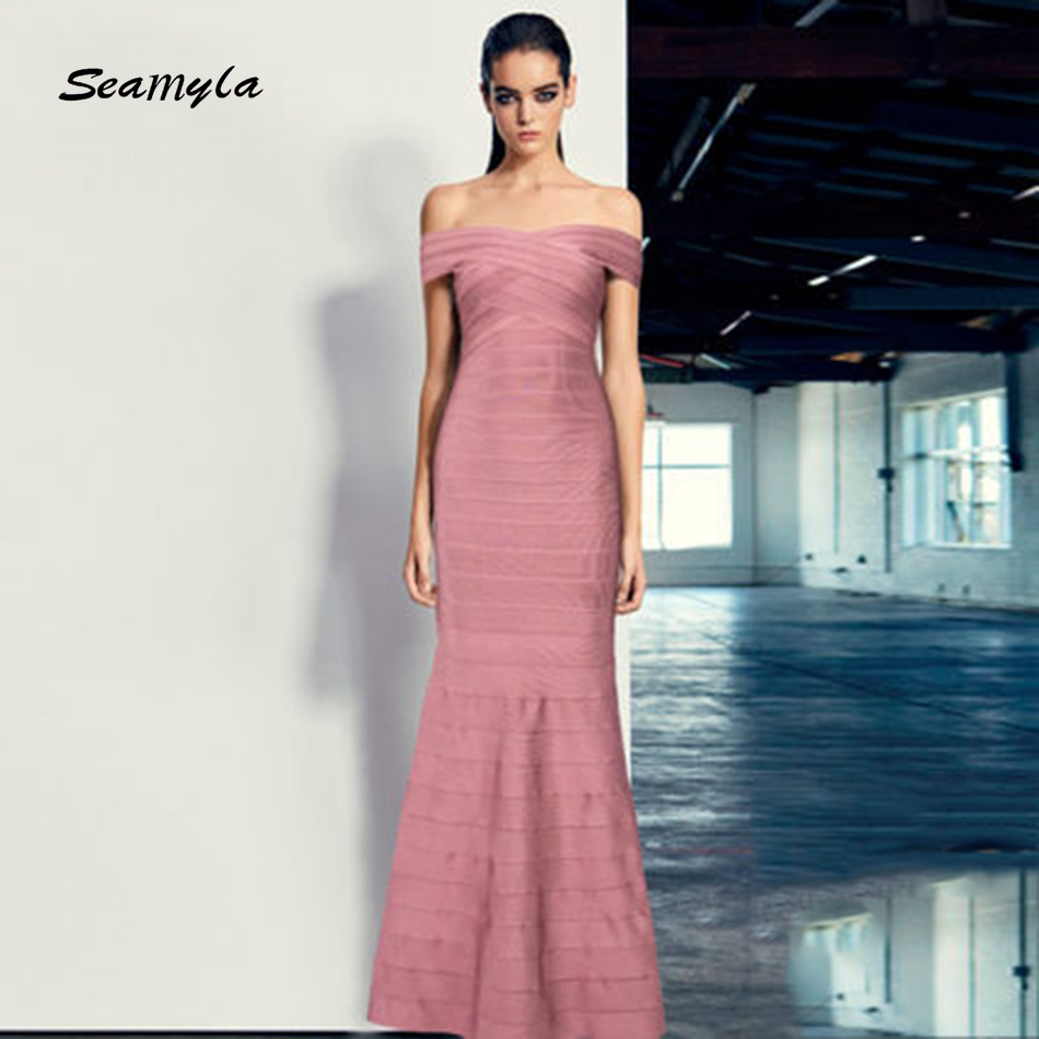 Seamyla High Quality Maxi Dresses Sexy Off The Shoulder Women Long Bandage Dress Celebrity Party Dress Vestidos 2018 New Fashion