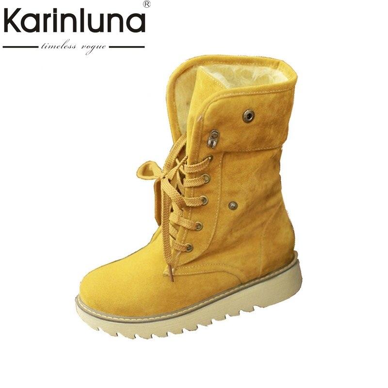 Big size 34-43 Fashion Winter Boots Vintage Lace Up Rubber Sole Platform Shoes Keep Warm Fur Shoes Woman Med-calf Snow Boots