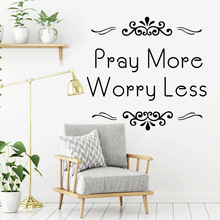 Drop Shipping pray more worry less Wall Sticker Home Decor Decoration For Babys Rooms Nordic Style muursticker