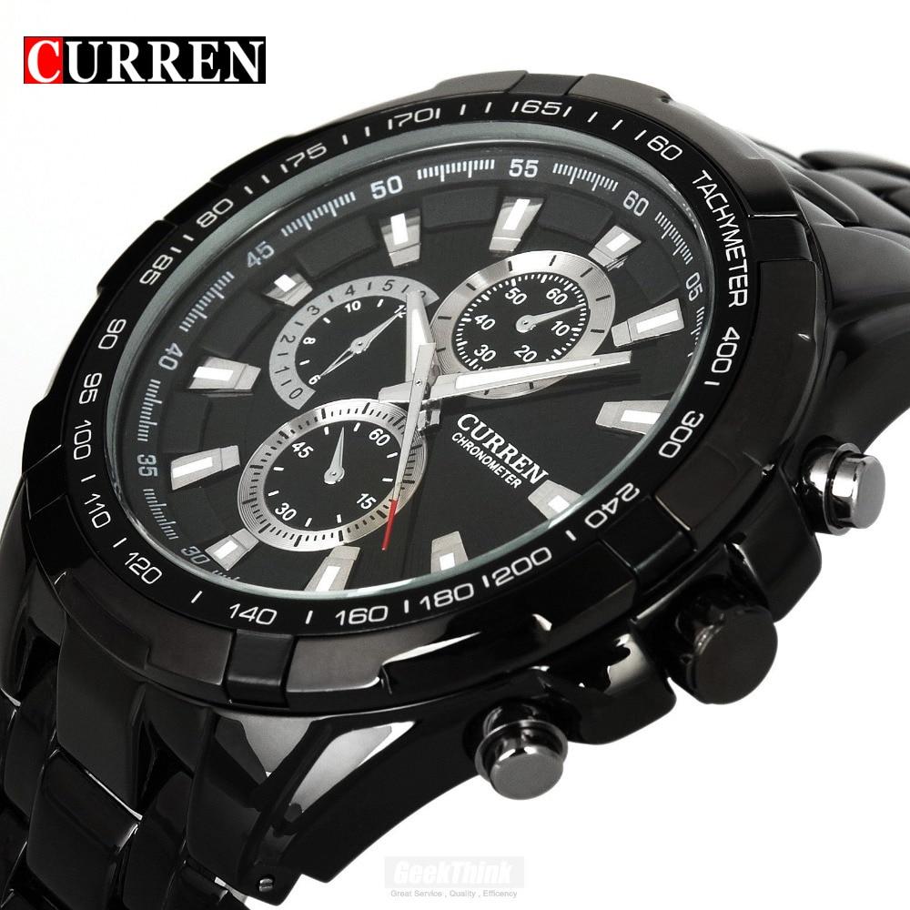 Lujo negro Curren cuarzo de acero completo reloj hombres Militar reloj vestido reloj impermeable hombre Relogio Masculino 2017
