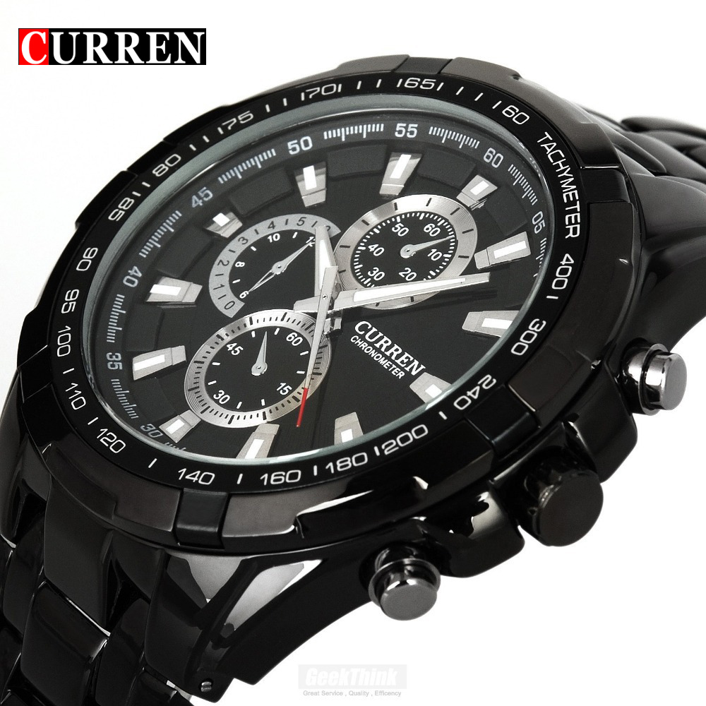 Luxury Black Curren full steel quartz Watch Men Casual Military Wristwatch Dress waterproof Clock Male Relogio Masculino 2017 fashion black full steel men casual quartz watch men clock male military wristwatch gift relojes hombre crrju brand women watch