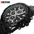 Luxury Black Curren full steel quartz Watch Men Casual Military Wristwatch Dress waterproof Clock Male Relogio Masculino 2017