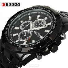 Luxury Black Curren full steel quartz Watch Men Casual Military Wristwatch Dress waterproof Clock Male Relogio Masculino 2017