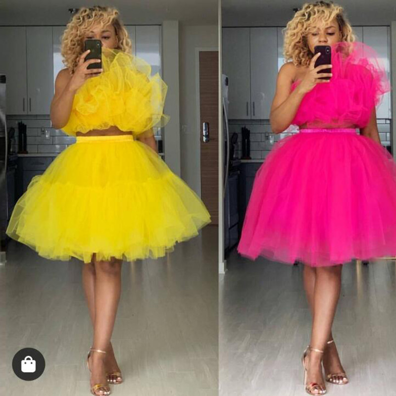 2019 Mode 2 Stuks Avond Formele Jurken Afrikaanse Vrouwen Geel Puffy Tull Knie Lengte Party Jurken - 3
