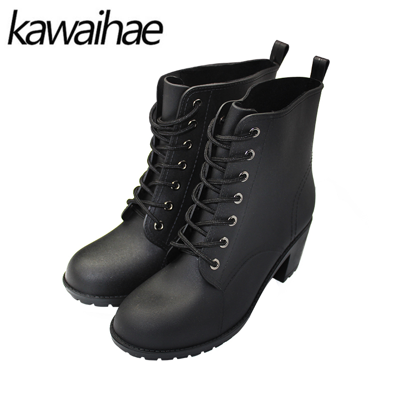 2017 Autumn Winter High Heels Rubber Shoes Female Rain Boots Waterproof Women Boots Brand Kawaihae 388 by Kawaihae