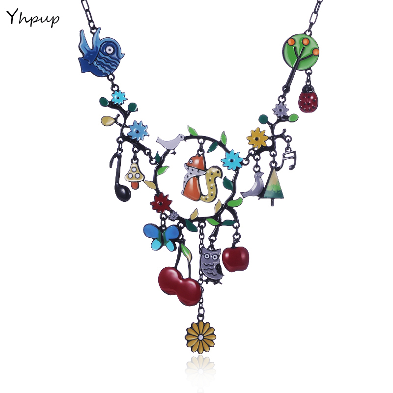 Yhpup France Brand Fashion Charm Necklace Enamel Bird Squirrel Owl Flower Fruit Animal Forest Dream Corlorful Necklace Gift