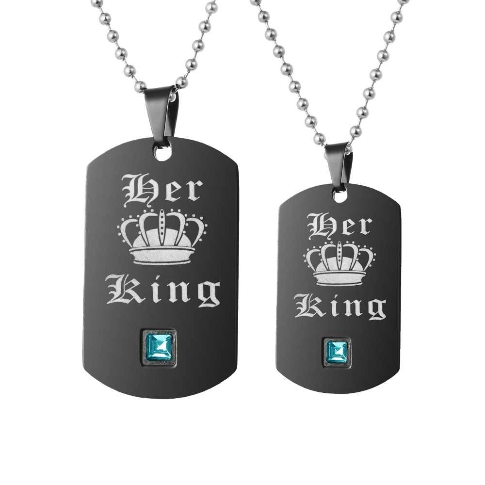 95885f9190 ... Uloveido Top Necklaces & Pendants King and Queen Stainless Steel  Necklace for Gay Lesbian Jewelry Gifts ...