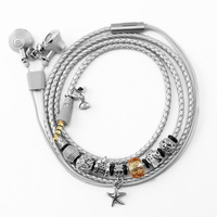 URIZONS Wired Earphones Charms Beads STAR Bracelet Earphones Silver PU Braided Headsets For iphone Android Computer as Xmas Gift