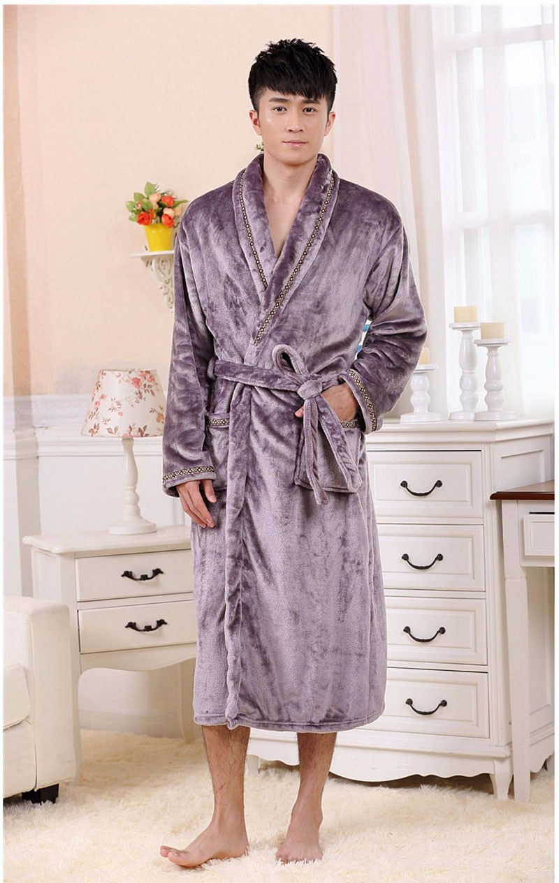 Autumn Luxury Long Flannel Bathrobe Men Women Kimono Waffle Bath Robe Male  Thick Sleepwear Mens Dressing Gown Badjas for Man-in Robes from Men s  Clothing   ... 15eae6995