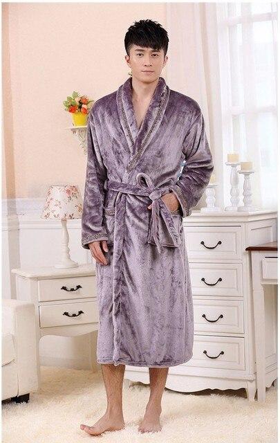 Autumn Luxury Long Flannel Bathrobe Men Women Kimono Waffle Bath Robe Male  Thick Sleepwear Mens Dressing c9b287142