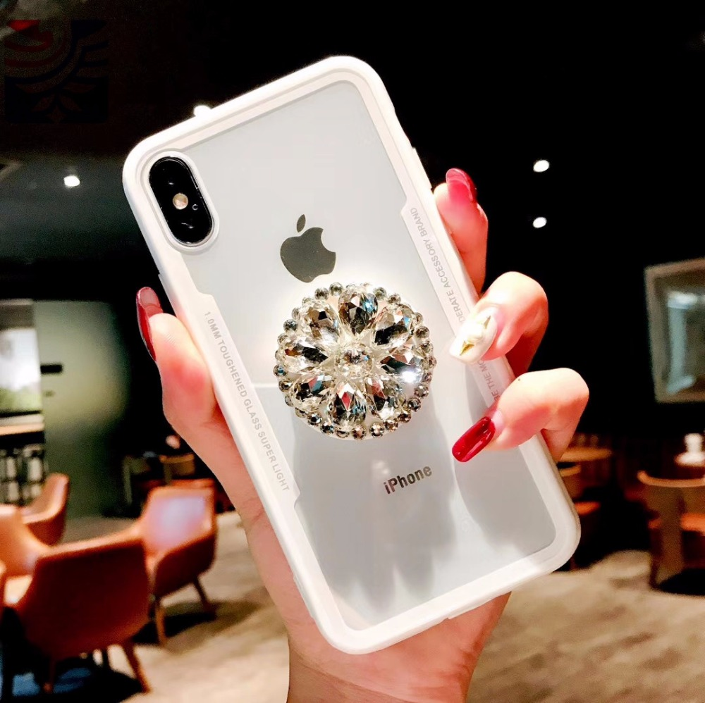 PEIPENG Luxury Transparent diamond phone case Phone Cases Thin and light  For iphone 6 6S 7 8 Plus X Xs Max Christmas gift02_