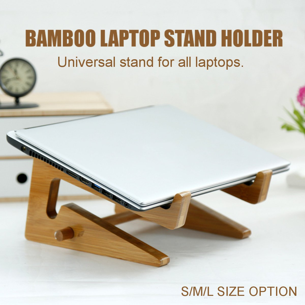 Portable Bamboo Laptop Stand Holder Organizer Desk Tablet Notebook Cooling Bracket Home Office Computer Tablet Accessories S/M/L