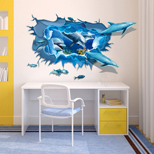 Creative 3D Effect Wall Stick PVC Dolphin Waterproof Art for Home Kitchen Kids Room Bathroom DIY Decoration 60*90cm