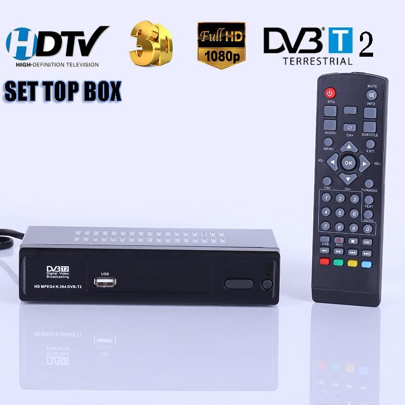 HD Digital Terrestrial Receive DVB-T2 Support MP3 MPEG4 Format Digital TV Box Universal TV Tuner TV Receiver DVBT2 Set Top Box цена