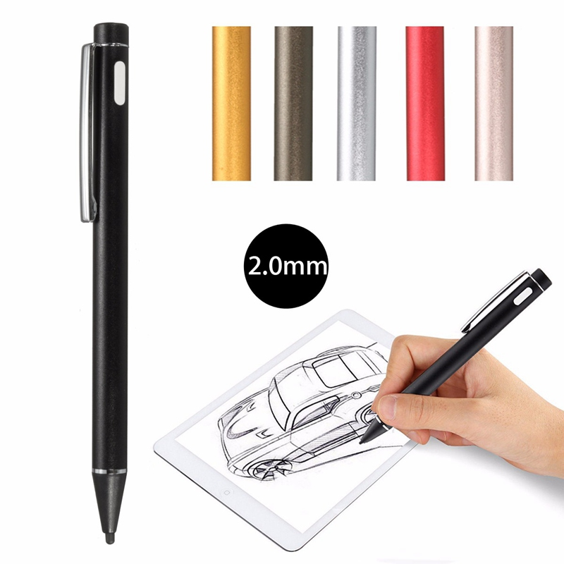 Universal 2 0mm Multi Color Rechargeable Active Stylus Capacitive Screen Touch Drawing Pens Screen Pen USB