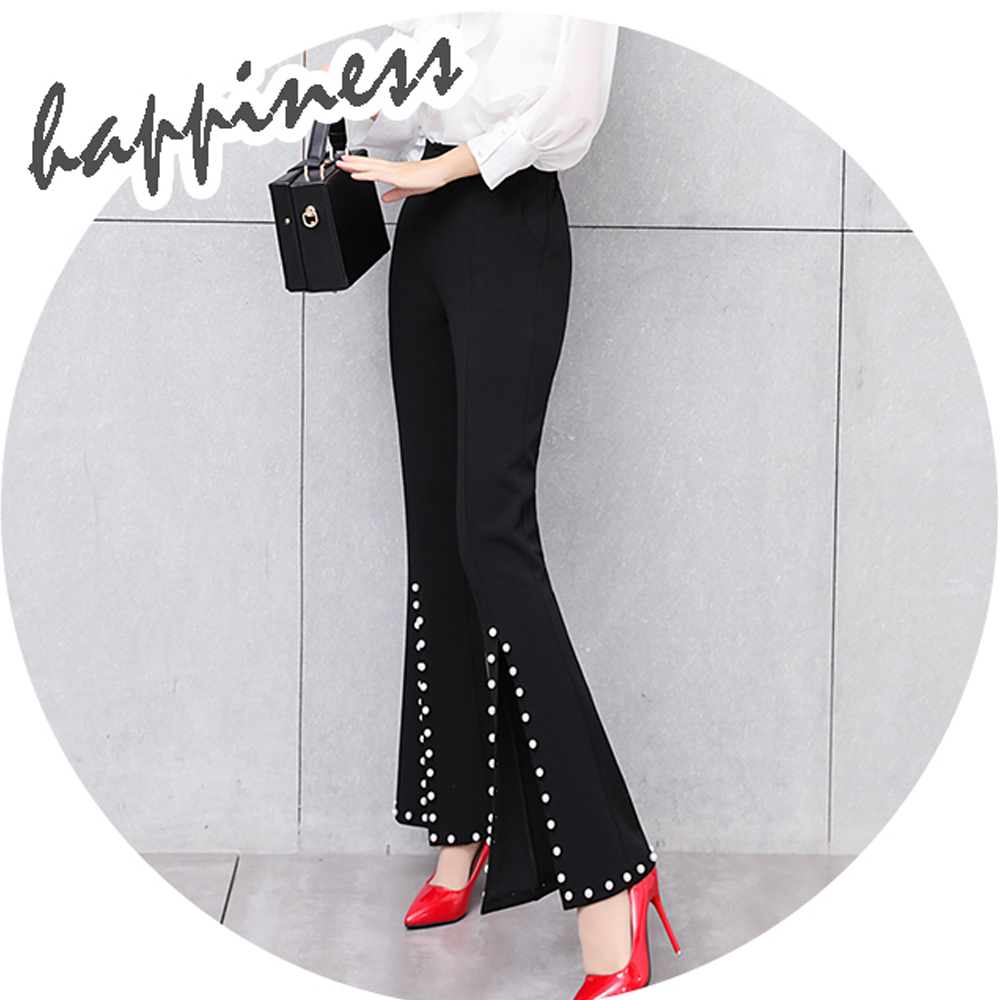 New 2019 Women High Waist Flare Pants Front Split Beaded Pants Female Elegant Slim Casual Pants Fashion Office Pants Pantalon 5