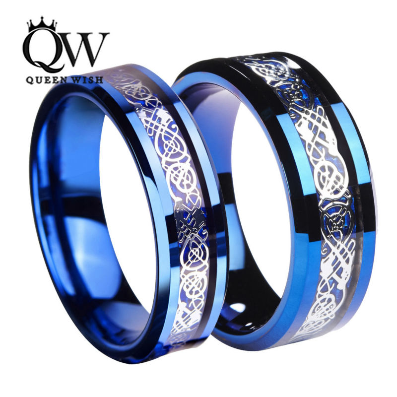 QUEENWISH-Blue-Tungsten-Carbide-Ring-Silvering-Celtic-Dragon-Blue-Carbon-Fibre-Wedding-Band-Womens-Jewelry