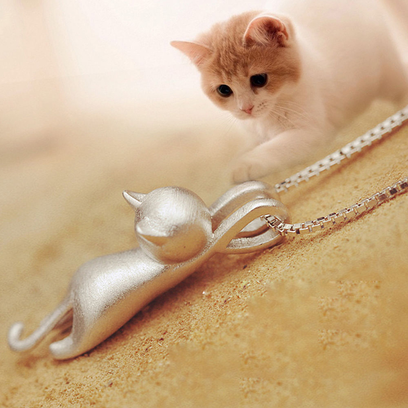 Cute Cat Pendant Necklace Trendy Tiny Cat Dog Pet Animal Long Chain Necklace For Women Girl Charm Jewelry Birthday Gift