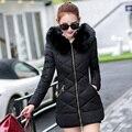 2016 Новая Мода Зимнее Пальто Женщин Зимняя Куртка Женщин меховой воротник с капюшоном теплое зимнее пальто Вниз B728