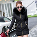 2016 Nova Moda Inverno Mulheres Jaqueta Casaco de Inverno Mulheres gola de pele com capuz casaco de inverno quente Para Baixo B728