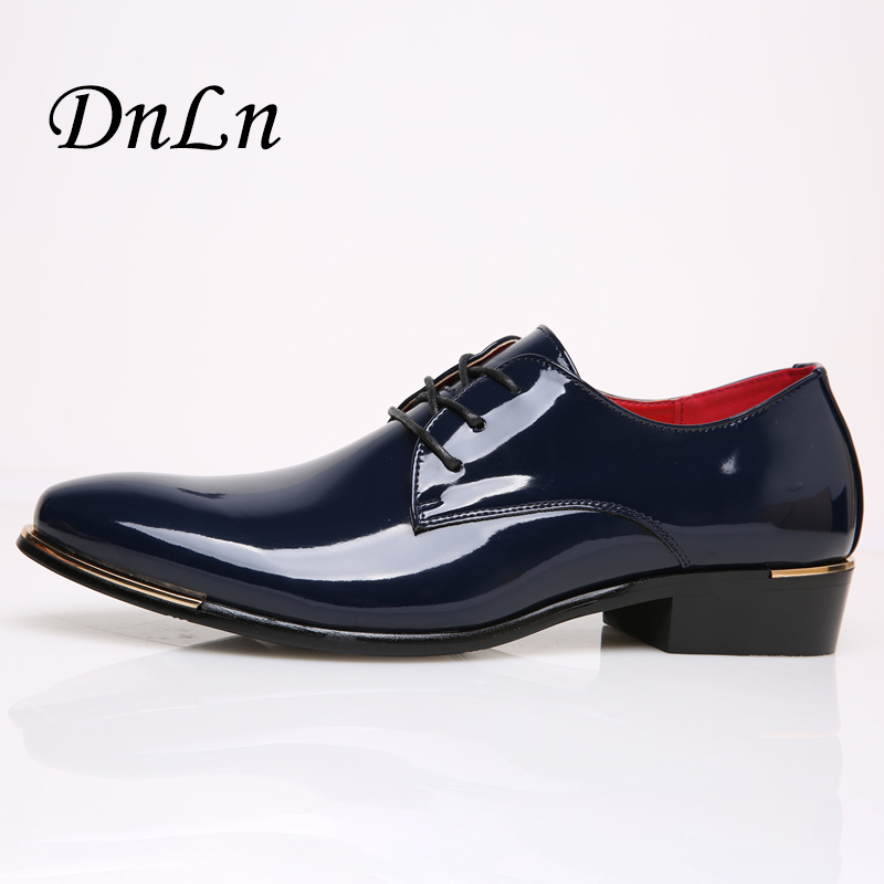 Size 38-45 Patent Leather Men Wedding Shoes Black Blue Red Gold Genuine Shoes Italy Brand Designer Casual Shoes Men D30