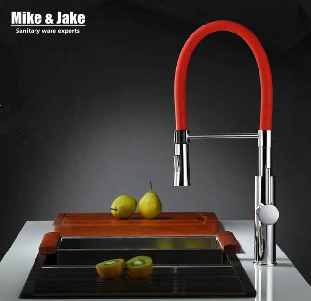 Red kitchen faucet pull out sink faucet 360 ronating brass pull down kitchen  tap cold and