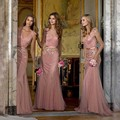 2017 Nueva Larga Vestidos de Honor Una Línea de Gasa Con Cuello En V Piso longitud vestido de Fiesta Barato Vestido de Boda Vestido de Fiesta Vestidos Para Festa B6