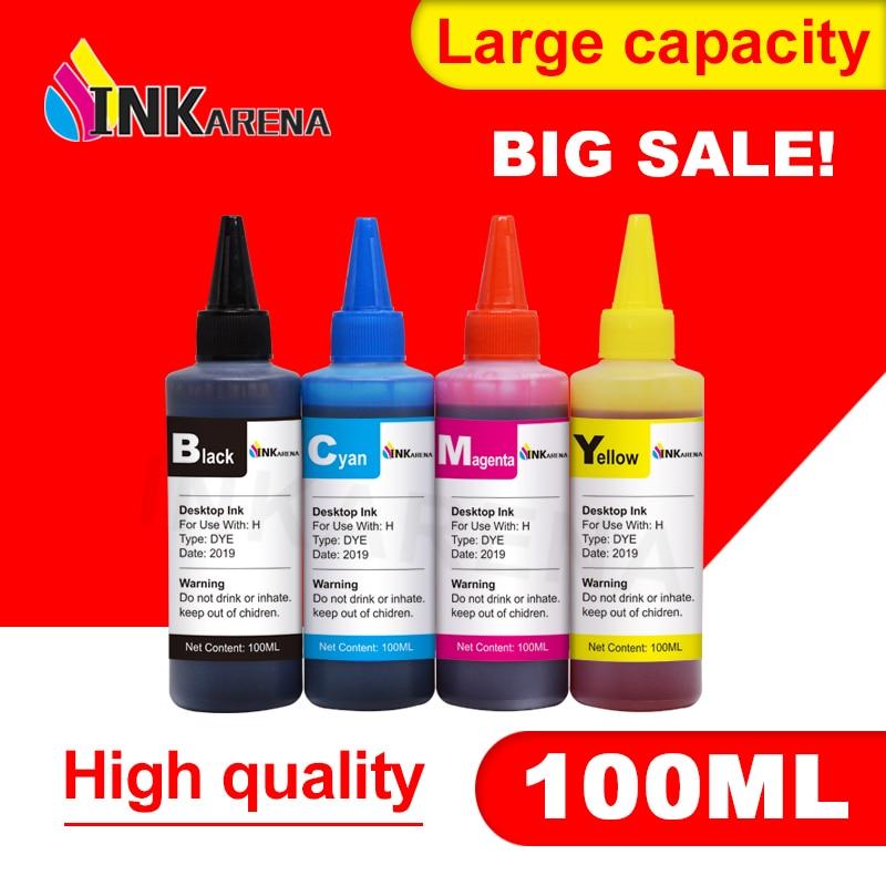 INKARENA Flasche Universal 4-Farben-Farbstoff 100ML Premium-Farbstofftinte Nachgefüllte Tinte Ersatz für HP 920 655 178 364 Nachfüllen von Druckertinte