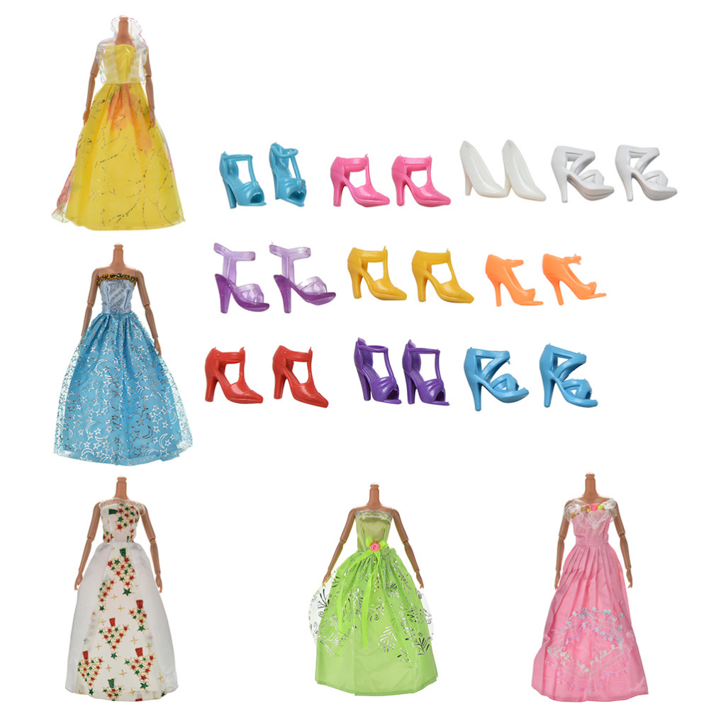 15 PCS/set Handmade Party 5 Mixed tyle Evening Dress +10 Pairs Shoes for  Doll Best Gift Girl Toy